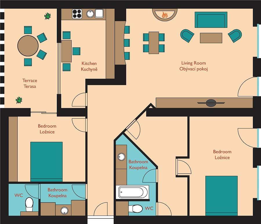 Living Room W Hotel Nyc: Golden Prague Residence